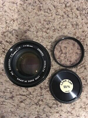 Minolta MC Rokkor PG 50mm f1.4 Camera Lens Excellent Condition CLEAN
