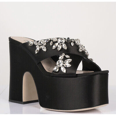 f8350897187 sz 38 NEW  1250 MIU MIU Black Satin CRYSTAL Embellish PLATFORM HEELS SANDALS  8