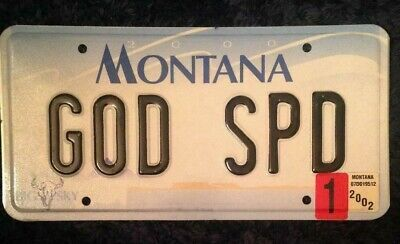 Montana Vanity Personalized License Plate Godspeed Gods Speed Personal Blessing