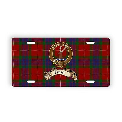 Fraser Scottish Clan Tartan Novelty Auto Plate with Crest and Motto