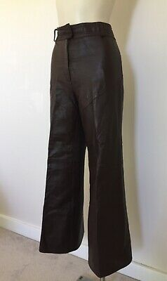 Womens Vintage 70s Chocolate Brown Leather Flares XS/S