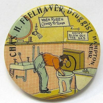 c.1910 CHAS. H. FEELHAVER DRUGGIST Hampton NEBRASKA comic pocket mirror *