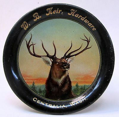elk c. 1910 W.B. KEIR HARDWARE Centralia Washington tin litho tip tray ashtray