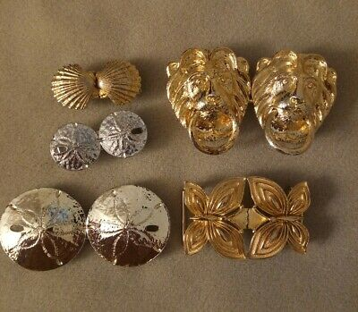 Vintage NATURE Mimi di N 1974 & 1975 Gold/Silver Tone Belt Buckle Set Lot of 5