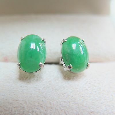 Top Quality Grade A Icy Green Jadeite with 18K White Gold Stud Earrings