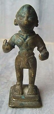 Small bronze statue of indian hindu tribal goddess vintage figurine collection