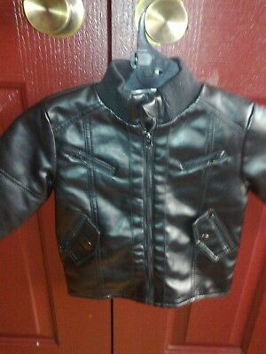 Baby Size 1 - Black - Leather Look - Dymples Jacket - Unisex - Used