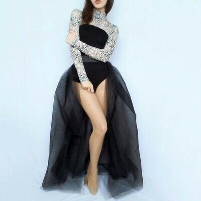 Women Wedding Skirts 4 layers Black Overlay Fashion Long Tutu Tulle Overskirt