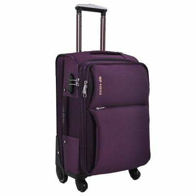 Men Travel Luggage Suitcase Oxford Spinner Rolling On Wheels Solid Trolley Bag