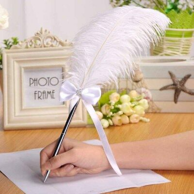 White Ostrich Feather Quill Guest Book Signing Pen Party Wedding Accessory