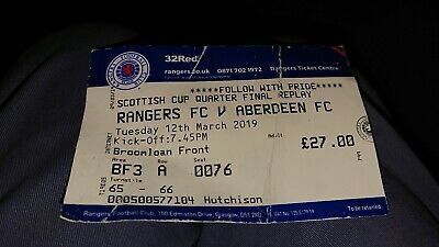 2019 Scottish Cup Ticket Rangers V Aberdeen
