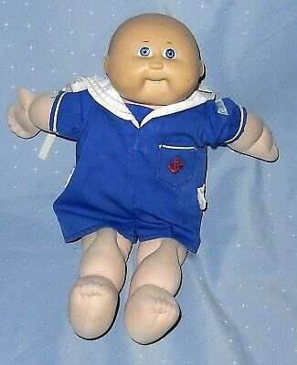 Vintage 1982 Cabbage Patch Bald Baby Doll, Blue Eyes, One tooth, Original Outfit
