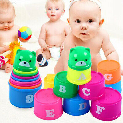 8F42 Stacking Cups Sets Baby Early Education Toys Cute Lovely Portable Kits