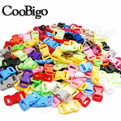 """3/8"""" Colorful Side Release Paracord Bracelet Buckles  Contoured Outdoor Camping"""