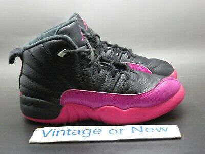 huge selection of 7efee a0408 GIRLS' NIKE AIR Jordan XII 12 Black Deadly Pink Retro 2017 GP 510816-026 sz  13C