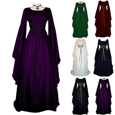 Womens Victorian Renaissance Medieval Long Dress Halloween Gothic Witch Costume