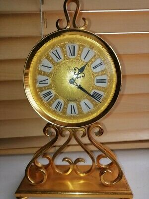 Imhof Brushed Gilded Vintage Swiss Clock No. 97 429 On Base. Battery Operated.