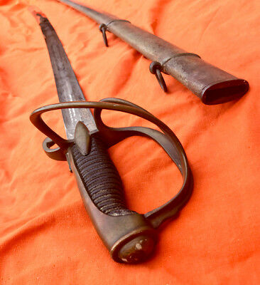 An Xi Napoleonic Hussar Cavalry Officer Sword Antique Dagger French France Old