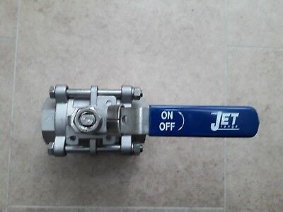 JET SV36N 3 Piece ISO Mount Stainless Steel Ball Valve PTFE Seats