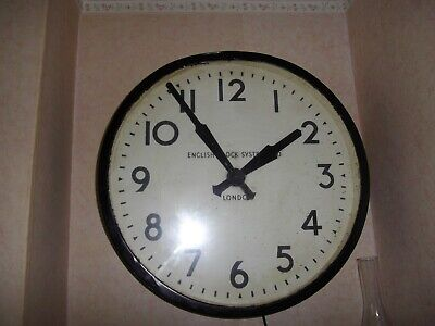 "english clock systems of london vintage antique large wall clock 26"" diameter"