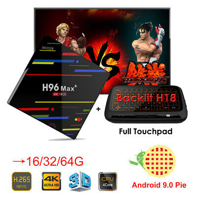 H96 Max+ Android 9.0 16/32/64G Quad Core WIFI 4K 3D Smart TV Box + Keyboard H18+