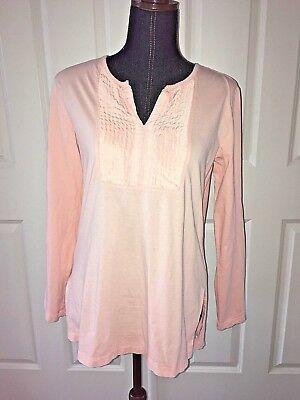 j jill womens top light peach pink tuxedo high low size xs long sleeve cotton