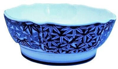 Soup Bowl Footed Cobalt Blue White Floral Scalloped Edge 6-1/8 Inch Japan Signed