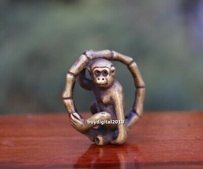 4 CM Pure Bronze China Zodiac Animal Monkey Round Bamboo Amulet Pendant Necklace