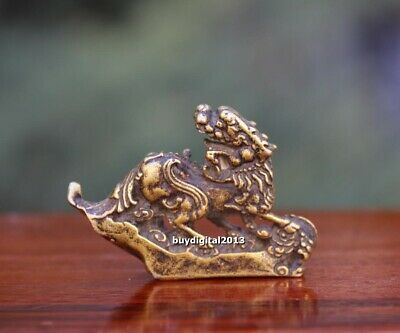 5 cm China Pure Bronze Foo Dog Lion Dragon Pi Xiu Wealth Animal Amulet Sculpture