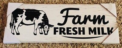 Country Farm House Fresh Milk Dairy Cow Rustic Wooden Sign Wall Plaque