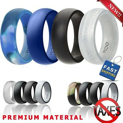 Silicone Wedding Ring Men Rubber Band Comfortable Sport Flexible 4 Pack 7 Sizes