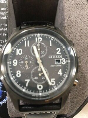 Citizen Eco-drive CA0627-09H Men's 45mm Gray Dial Black Leather Chrono Watch