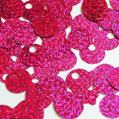 Large Hole SEQUIN PAILLETTE ~ Hot Pink Hologram Multi ~ 20mm ~ Made in USA