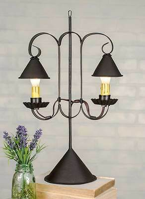 16.5H Primitive Double  Lamp with Hanging Shades Tin Rustic Brown