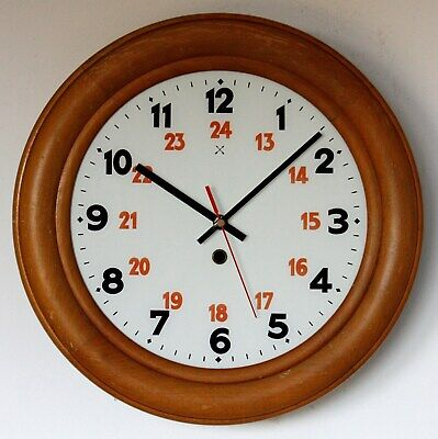 Vintage 35cm Wooden Wall Clock - Retro Antique Station Clock Country Kitchen