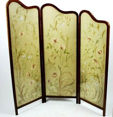 Antique Victorian Mahogany Silk Embroidery 3 Fold Dressing Screen [PL5022]