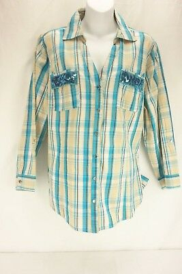 CATO Blue Tan Plaid Button Down Collared Long Sleeve Shirt Women's Size 18/20 W