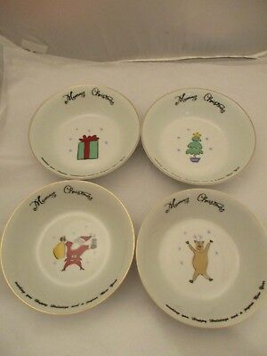 Merry Brite China MERRY CHRISTMAS Lot of 4 Soup or Cereal Bowls New