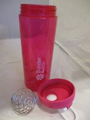 Blender Bottle Sportmixer 24 oz, HOT PINK w WHITE wire mixing ball, BPA free