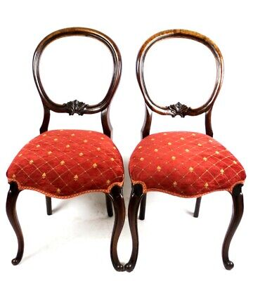 A Pair of Antique Carved Walnut Balloon Back Chairs - FREE Shipping [PL5021]