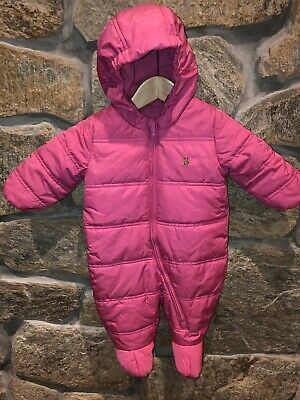 31f741147 BABY GAP SNOWSUIT Baby Bunting Girls 6-12months Pink Fleece Hooded ...