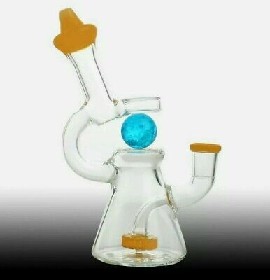 SMALL BONG GLASS Water Pipe Amber 14mm Joint - £3 83