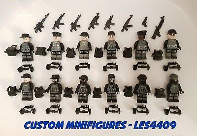 12pc SWAT | Military | Army | WWII Soldier Custom Minifigure +FREE LEGO BRICK UK