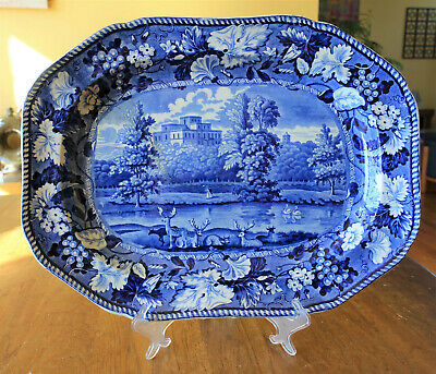 Antique Historical Blue Staffordshire Platter Enoch Wood Kenmount Dumfriesshire