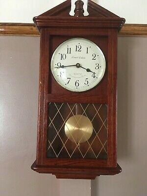 Daniel Dakota Oak Cased Quartz Pendulum Battery Clock Westminster Chimes