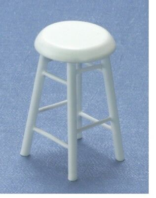 Dollhouse Miniatures 1:12 Scale Bar Stool, 2 In, White #CLA10591