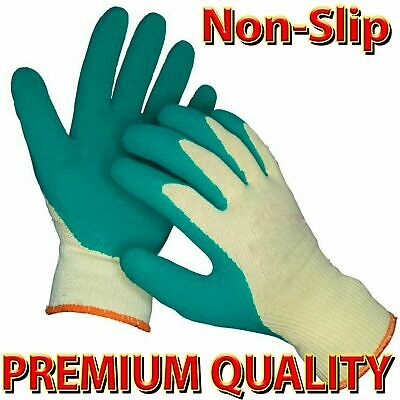 🔥 Heavy Duty Latex Coated Builders Safety Grip Work Gardening Gloves Men Rubber