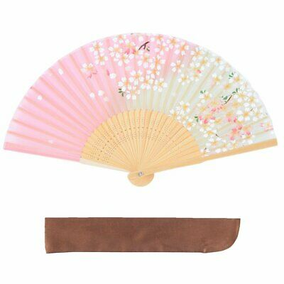 Silk silk folding fan cherry blossom flower pattern fan folding bag attaching bo