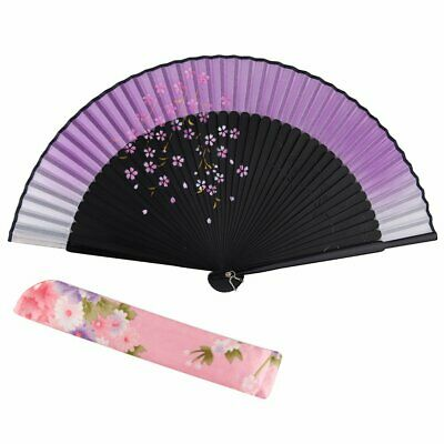 Silk folding fan cherry blossoms Flower pattern Japanese style fan fan with fan