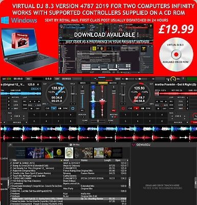Virtual DJ Infinity 8.3 4787 FEB 2019 WINDOWS Two Computers £19.99!!!